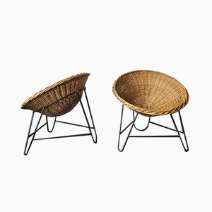 Mid-Century Bamboo & Iron Pod Chairs, Set of 2
