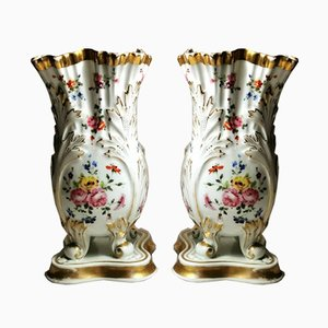French Napoleon III Vases from Porcelain de Paris, Set of 2