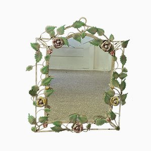 French Wrought Iron Mirror with Roses, 1970s