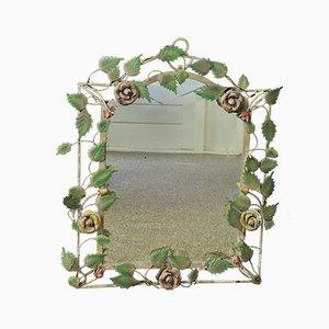 Specchio in ferro battuto con rose, Francia, anni '70