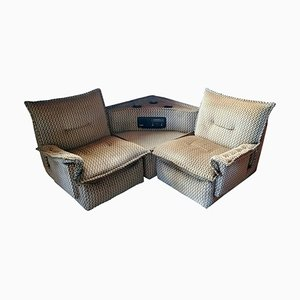 Modular Corner Sofa Set with Radio & Bottle Holders, 1970s