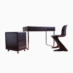 Set scrivania e sedia Z vintage con corno di Peter Ghyczy & Ernst Moeckel per Baydur, anni '70, set di 3