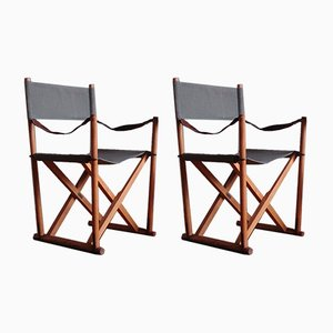 Mid-Century Waxed Fabric & Leather Safari Folding Chairs by Mogens Koch for Interna, 1960s, Set of 2
