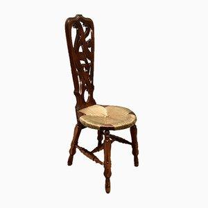 Chaise d'Appoint Antique en Noyer Sculpté