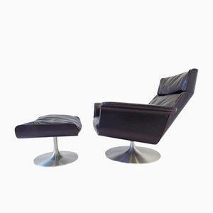 Chaise Siesta 62 en Cuir Noir avec Ottomane par Jacques Brule pour Kaufeld, 1960s
