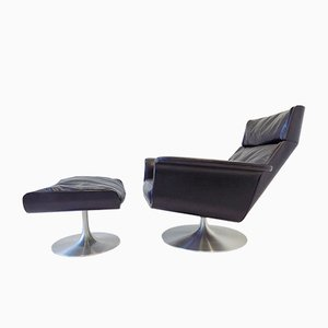 Siesta 62 Black Leather Chair With Ottoman by Jacques Brule for Kaufeld, 1960s