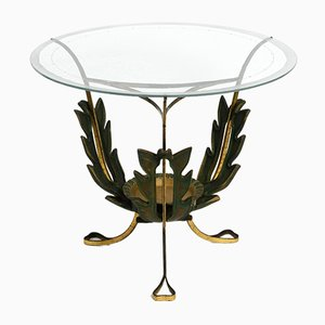 Mid-Century Italian Glass and Brass Floral Side Table, 1950s