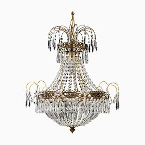 Large Gustavian Style Crystal Chandelier, 1960s