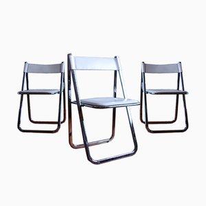 Chaises Pliantes Tamara Vintage en Cuir et en Chrome de Arrben, Italie, Set de 3