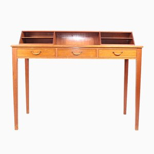 Mid-Century Desk in Mahogany with Organizer by Ole Wanscher for Fritz Hansen, 1950s