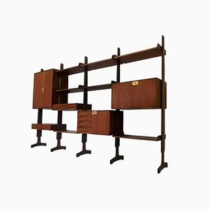 Italian Teak Wood Freestanding Bookcase with Four Modules by Vittorio Dassi, 1950s