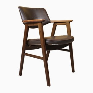 Rosewood & Leather Desk Chair by Erik Kirkegaard for Høng Stolefabrik, 1950s