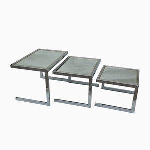 Cigogne Nesting Tables in the Style of Romeo Rega, 1970s, Set of 3