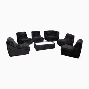 Modular Plush Fabric Sofa Set with Table, 1970s, Set of 7