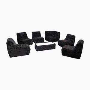 Modulares Plüsch Sofa Set mit Tisch, 1970er, 7er Set
