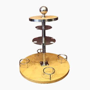 Art Deco Swivel Bar In Wood and Nickel-Plated Metal