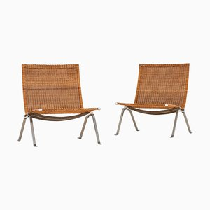 Danish Model PK-22 Easy Chairs by Poul Kjærholm for E. Kold Christensen, 1950s, Set of 2