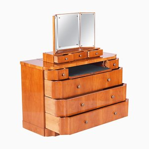 Czech Art Deco Cherry Dressing Table with Mirror, 1920s