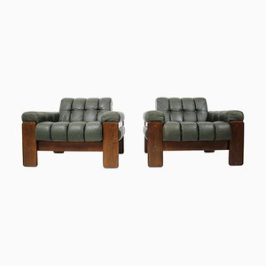 Scandinavian Leather Armchairs by Kaluste Yhtymä, Finland, 1970s, Set of 2