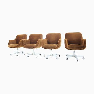 Mid-Century Swivel Office Armchairs, 1970s, Set of 4