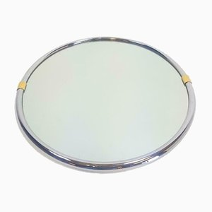Vintage Hollywood Regency Chrome Brass Round Mirror, 1970s