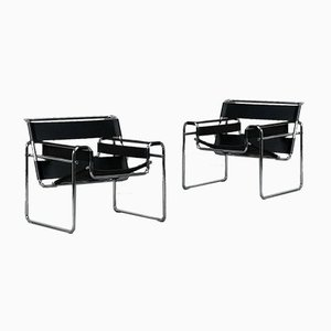 Black Leather B3 Wassily Chair Marcel Breuer for Gavina, 1980s