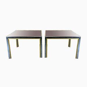 Tables Basses en Chrome et en Laiton de Willy Rizzo, 1960s, Set de 2