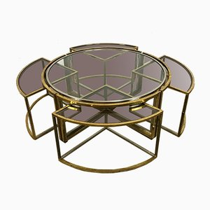 Coffee Table in Brass and Chrome with Nesting Tables, 1970s, Set of 5