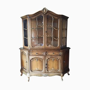 Antique Display Cabinet in Solid Wood with Floral Carvings