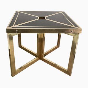 Vintage Black Melamine and Brass Side Table, 1970s