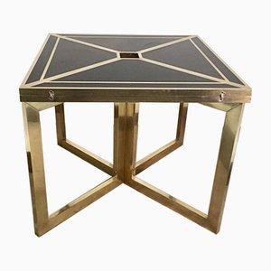 Vintage Black Melamine and Brass Side Table, 1970s