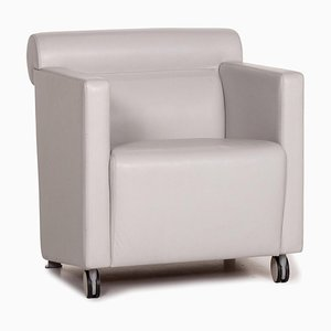 Grey Leather Armchair from Poltrona Frau