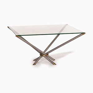 Glass, Metal & Brass Square Coffee Table from Draenert