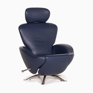 Dark Blue Leather Dodo Armchair by Toshiyuki Kita for Cassina