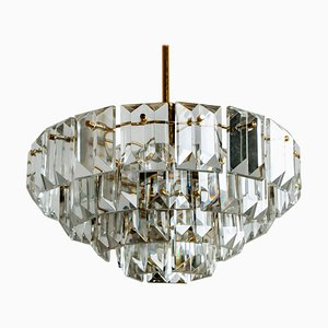 Faceted Crystal and Gilt Metal Chandelier from Kinkeldey, 1970s