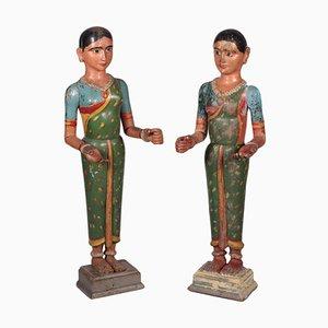 Indische Paarskulpturen, 2er Set