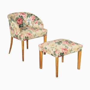 Armchair & Stool, 1940s, Set of 2