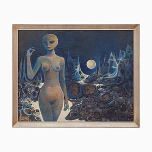 Surrealistic Oil Painting on Canvas, 1970