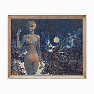 Surrealistisches Ölgemälde auf Leinwand, 1970