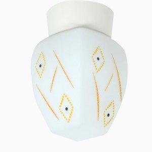 Deckenlampe aus Glas mit Muster, 1950er