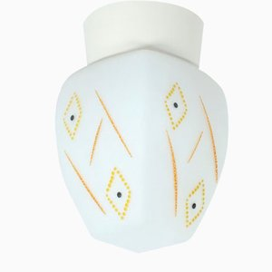 Glass Ceiling Lamp with Pattern, 1950s