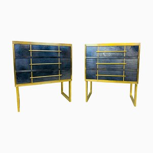 Small Vintage Italian Pearl Glass and Brass Chest of Drawers, Set of 2