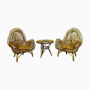 Vintage Rattan Armchair & Table Set