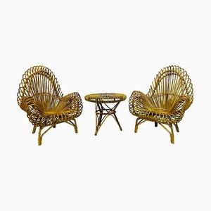 Vintage Rattan Armlehnstuhl & Tisch Set