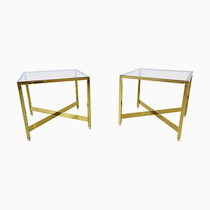 Italian Brass Side Tables with Glass Top, 1970s, Set of 2