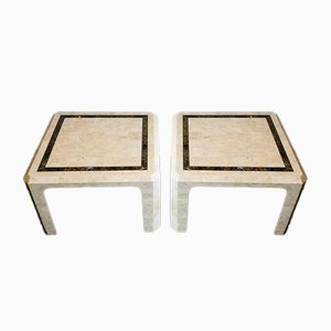 French Marble Plate Side Tables with Brass Line, 1970s, Set of 2