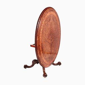 19th Century Victorian Burr Walnut Inlaid Center Table