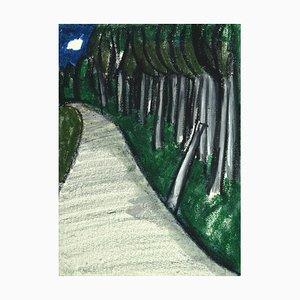 Landscape - Original Mixed Media on Cardboard by Sun Jingyuan - 1970s 1970