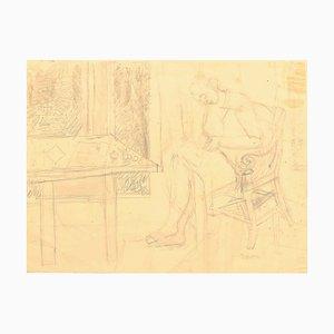 Nude - Matita originale su carta di Jeanne Daour - 1941 1941