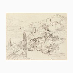 Landscape - Original Pencil on Paper - 20th Century 20th Century